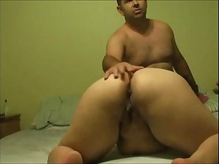 indian babe with a shaved pussy sucks cock