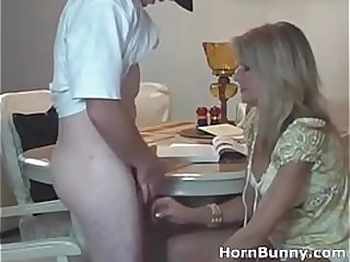Cute milf fucked after dinner